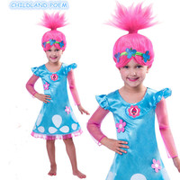 2017 Hot Sale Troll Costumes Pattern Children Costumes For Girls Carnival Kids Costumes Summer Girl Dress