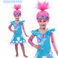 2017 venta caliente Troll Patrón Disfraces Disfraces Infantiles Para Niñas Carnaval Disfraces Para Niños Ropa de Verano Vestido de Niña de Trolls de Amapola