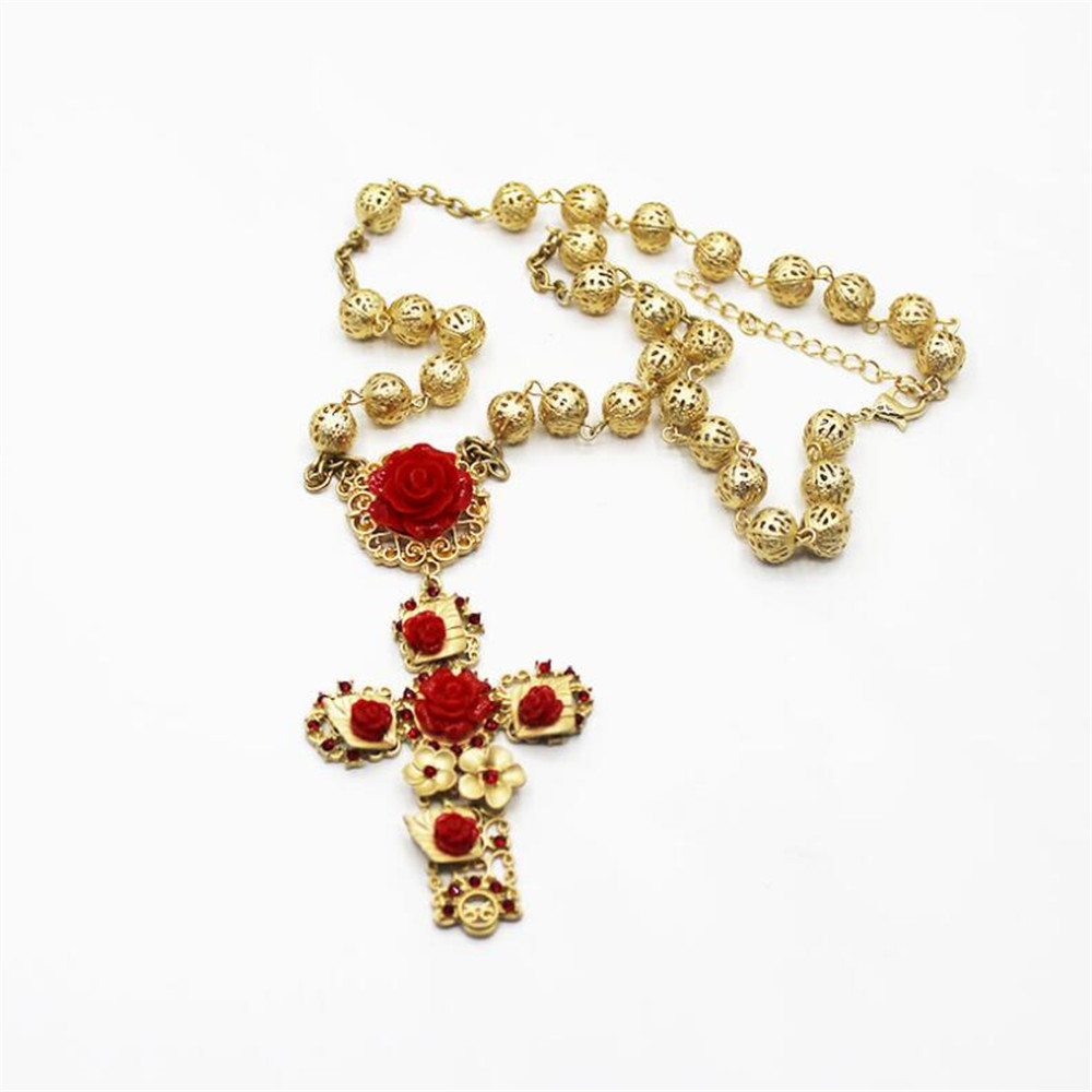 Gold Color Cross Pendant Baroque Necklace For Woman