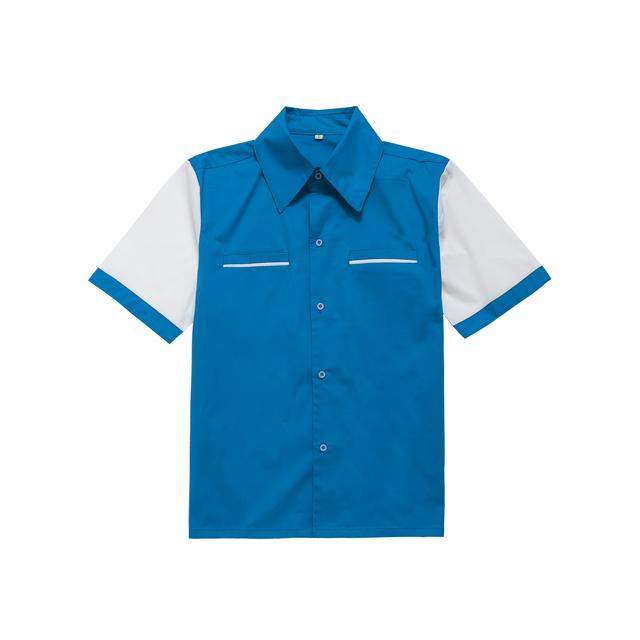 Para hombre camisas casuales más el tamaño de manga corta azul blanco botón de la camisa de algodón de la vendimia de rock n roll up rockabilly camisa tejida