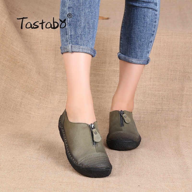 Tastabo  Brand Women Shoes Flats Shoes Women Genuine Leather Shoes Solid Color Ankle Strap Round Toe Shoes Size 35-43 amourplato womens handmade pointed toe ankle wrap flats bridesmaid ballerinas ankle strap flats shoes with buckle size5 13