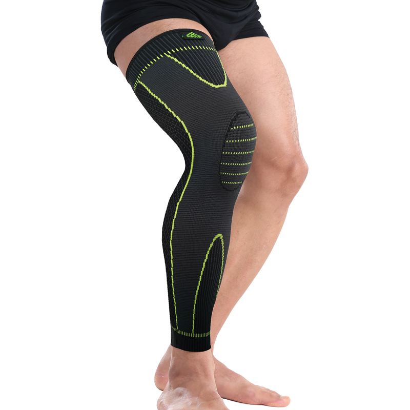 Hot elastic yellow green stripe sports lengthen knee pad leg sleeve non slip bandage compression leg