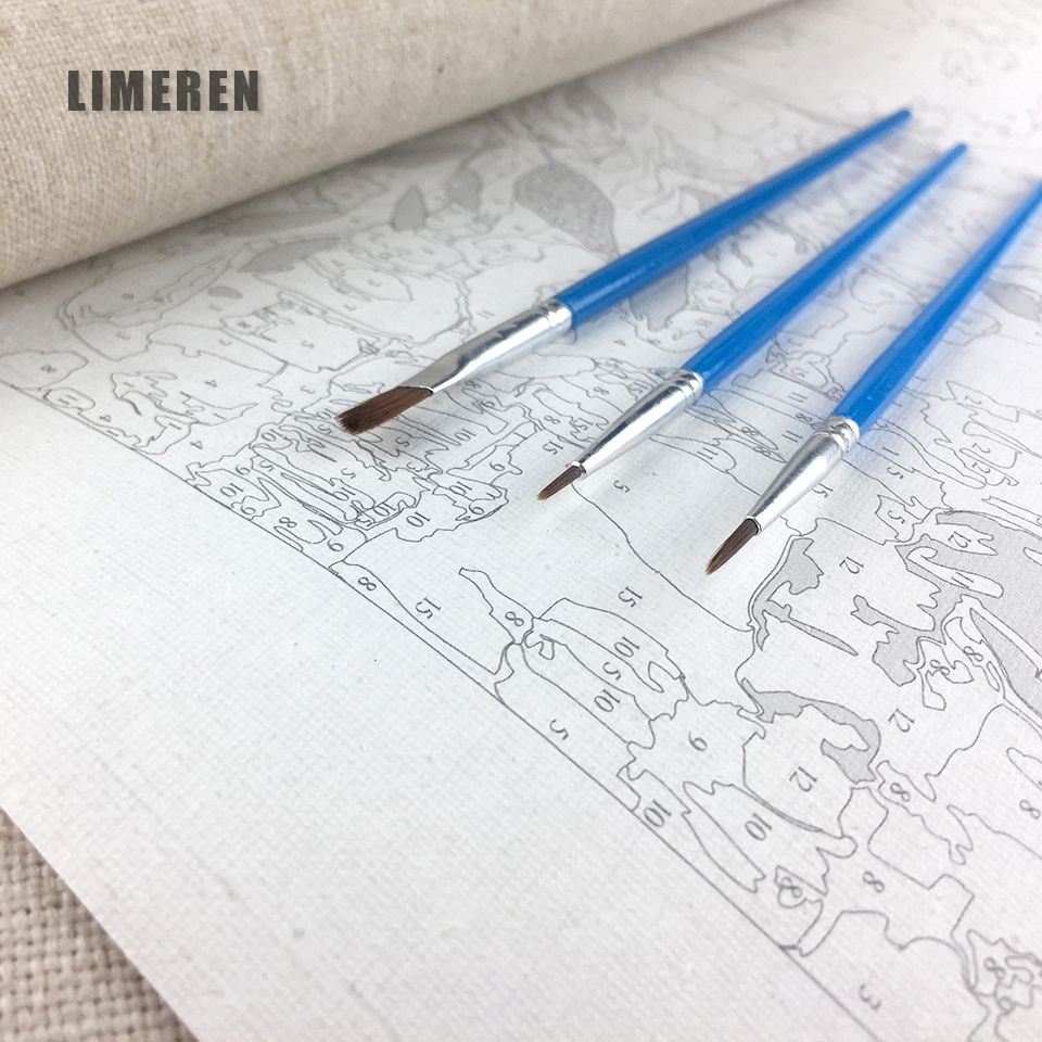 Frameless Street scene Bridge rope Painting By Numbers Street light river Coloring By Numbers