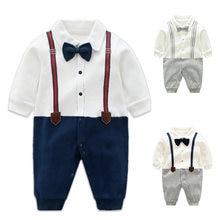 0d332fcd473fc Bébé Barboteuses Coton Arc Cravate Smokings Gentleman Bib Vêtements Enfant  Prince Salopette Nouveau-Né Infantile