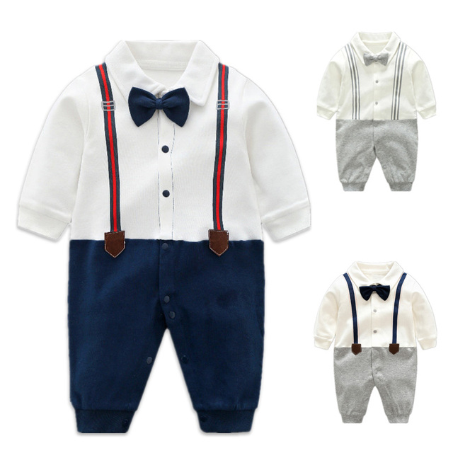 4940ed7c6159 Baby Rompers Cotton Bow Tie Tuxedos Gentleman Bib Clothing Toddler ...