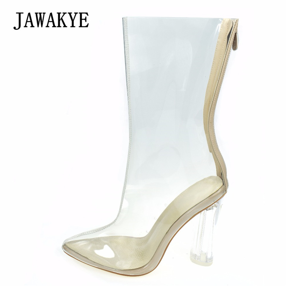 цена на Summer PVC Transparent Shoes Pointed Ankle Boots for Women Mid-Calf zipper Round Clear High heels Shoes Ankle Boots women