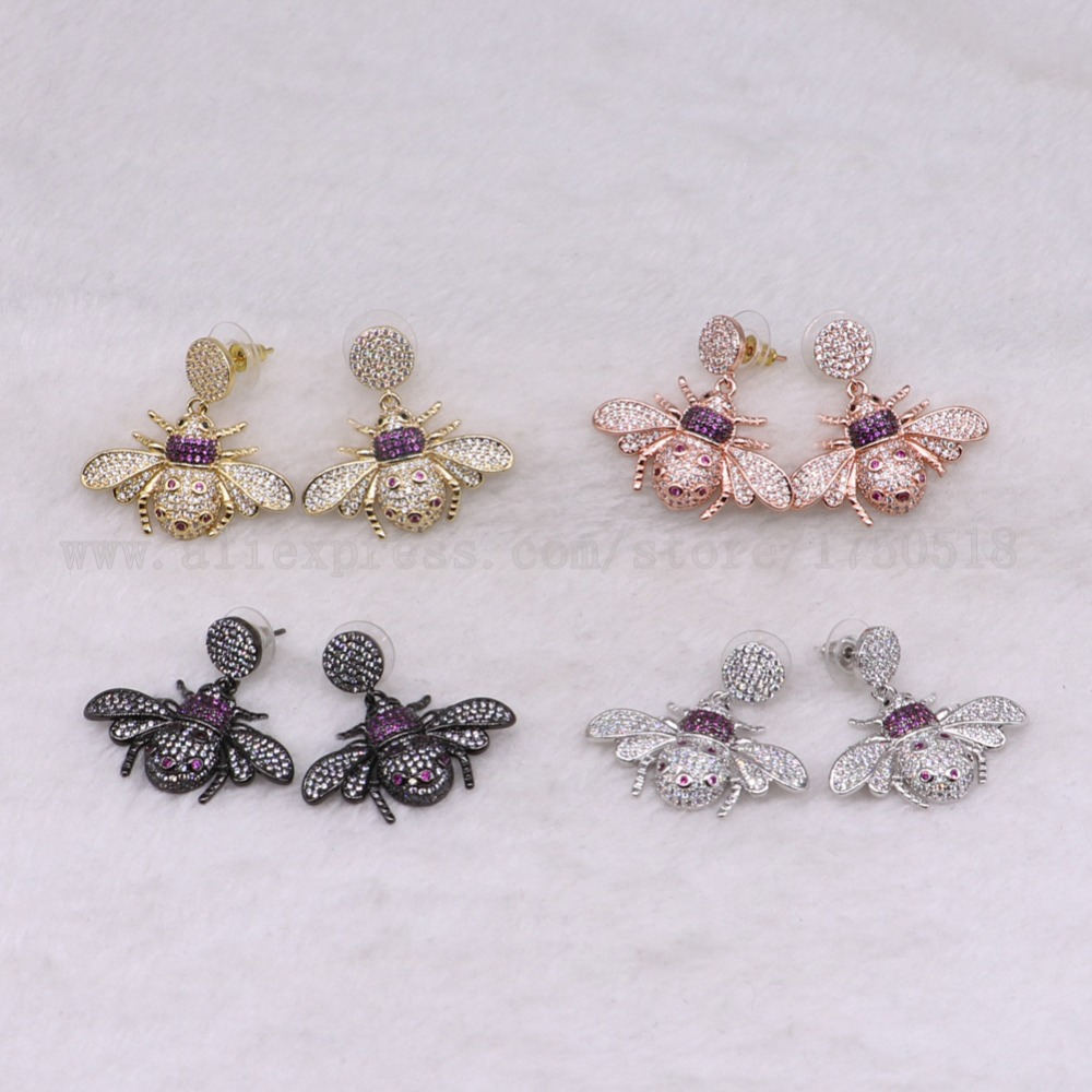 3 pairs ladybugs earrings colorful Insects fly Bee High quality Gift for lady insect earrings bugs jewelry Earrings  3237