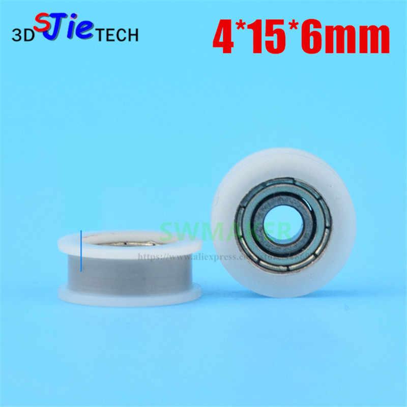 1 pièces 4*15*6mm polyamide nylon poulie de roulement, rainure H type roue intégrée roulement pour 3D imprimante