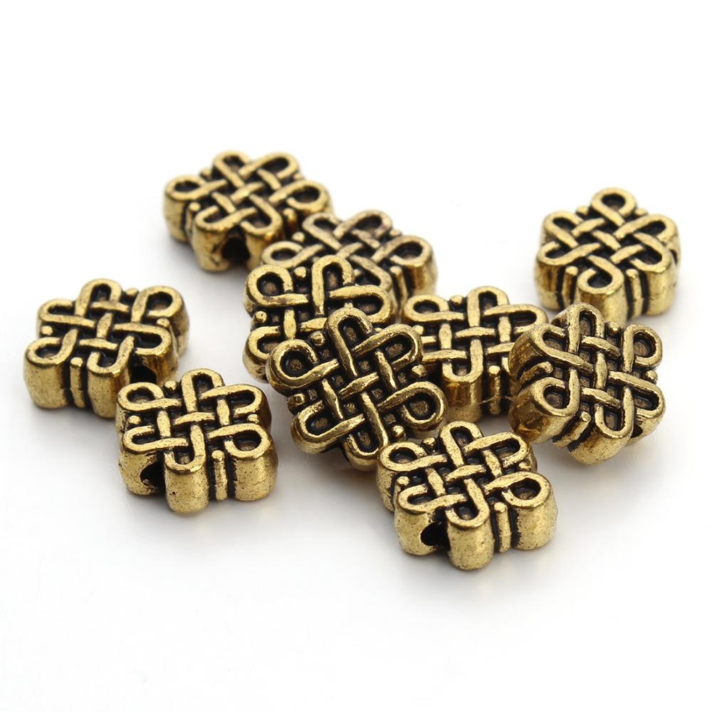 50pcs/lot 11x9mm Antique Gold/Silver Chinese Knot Metal Tibetan Spacer Beads Fit DIY Bracelets Jewelry Making Findings F3402 брелок silver angel 120pcs diy 14x22mm a428 fit slide bracelets necklaces jewelry findings