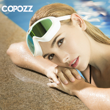 COPOZZ One piece Swimming Goggles Whole Shaped Lens Silicone Large Frame Swimming Glasses Anti Dust Virus for Men Women Adult