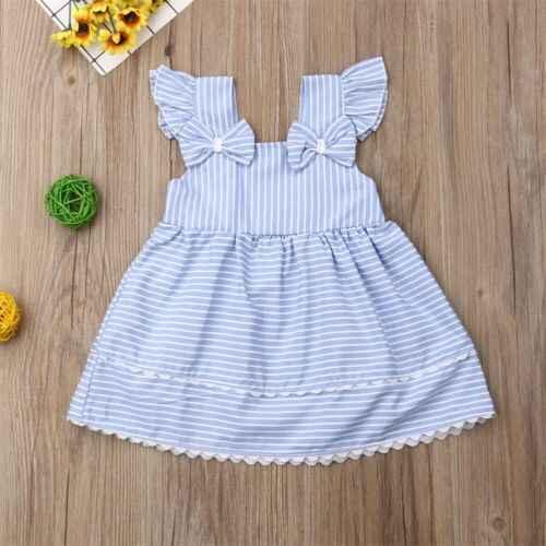 2019 niño pequeño azul vestido a rayas para bebé chica chico verano vestido de tutú sin mangas Bowknot Fiesta infantil Bebé Vestidos Casuales