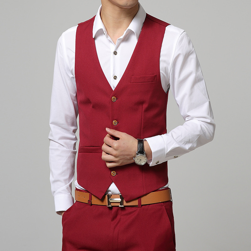 New Premium brand fine cotton the grooms best man wedding dress mens suit vest Male Male formal business suit vest waistcoat