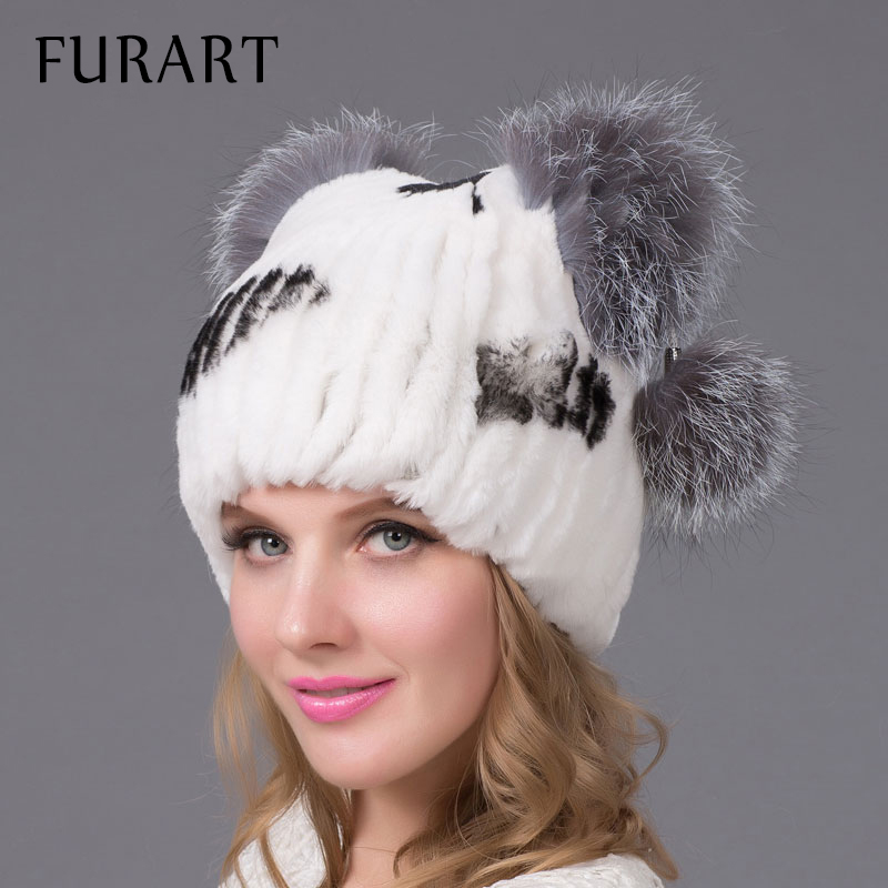 women's genuine rabbit fur hat with fur pom poms winter autumn lovely cat ear style caps 2015 latest brand new hats for girls new star spring cotton baby hat for 6 months 2 years with fluffy raccoon fox fur pom poms touca kids caps for boys and girls