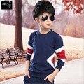 2016 Детская Одежда Мальчиков Мальчиков Осень Hoodied Пальто И Куртки Брюки Набор Корейской Моды Детская Одежда Спорт Suit5-15Age