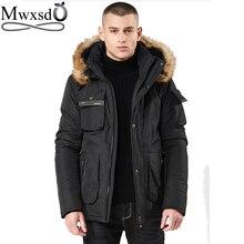Mwxsd brand Men winter warm hooded jacket and coat mens fur thick military zipper parkas warm overcoat jacket