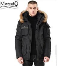 Mwxsd merk Mannen winter warm hooded jas en jas heren bont dikke militaire rits parka warm overjas jas