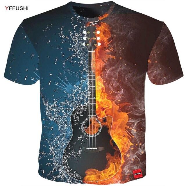 YFFUSHI Male 3D T shirt Fashion Fire and Ice Print Male /Female T shirt Guitar  Print Heavy Music Band Tee Plus Size 5XL