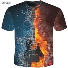 Yffushi Mannelijke 3D T shirt Mode Vuur En Ijs Print Mannelijke/Vrouwelijke T shirt Gitaar Print Zware Muziek Band tee Plus Size 5XL