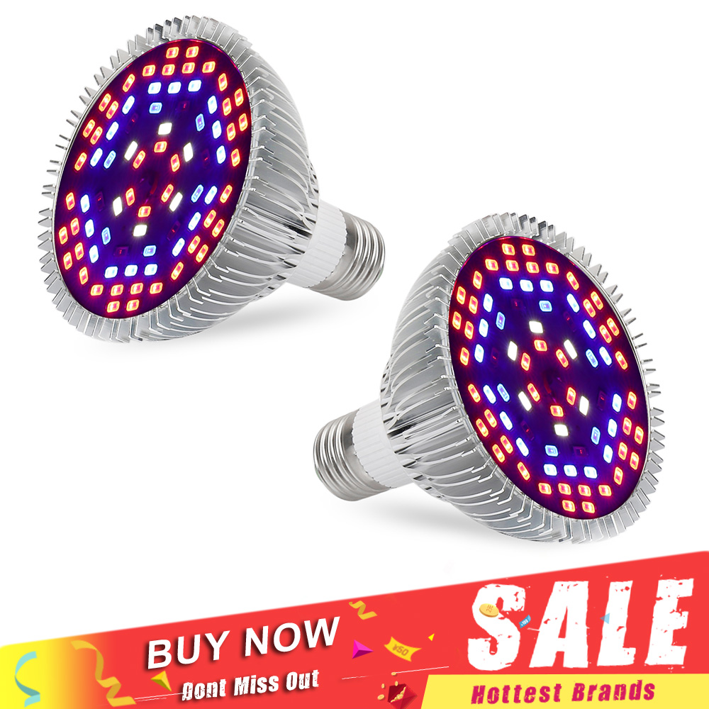 2pcs/lot Full Spectrum LED Grow Lights 30W 50W 80W E27 AC85~265V Red/Blue/White/UV/IR Hydroponics LED Plant Lamp Hot Sale full spectrum double chips 10w epistar 36led ac85 265v red blue warm white white ir uv led grow lights lamp for hydroponic plant