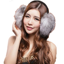 Genuine Fox fur earmuffs New Blue white red purple 5 color ear protector thermal ultralarge womens winter autumn warm  A421