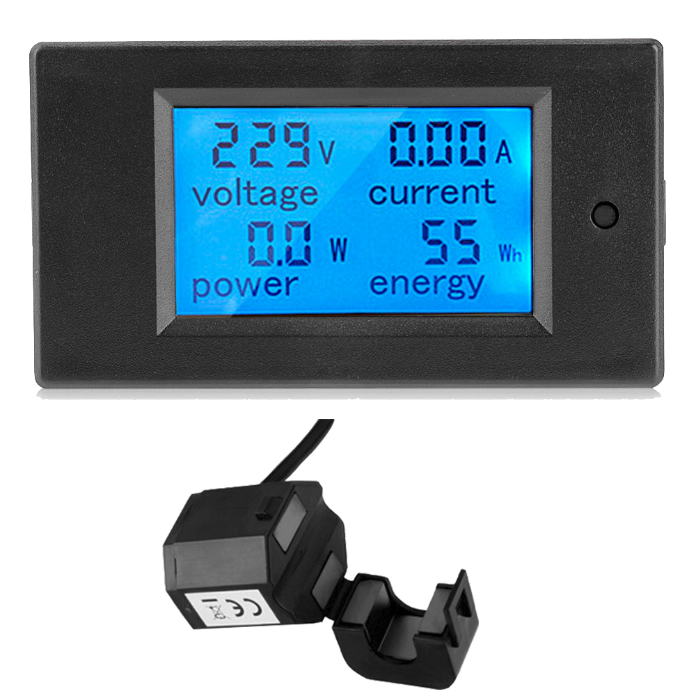100A مقياس طاقة رقمي اختبار LCD دقيقة الفولتميتر مقياس التيار الكهربائي كيلو واط واط مقياس الطاقة الجهد الحالي قوة مراقبة