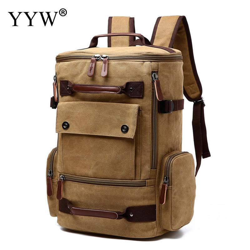 Canvas Multifunction Mountaineering Bag Large Capacity Backpack Men Travel Bags Khaki Vintage