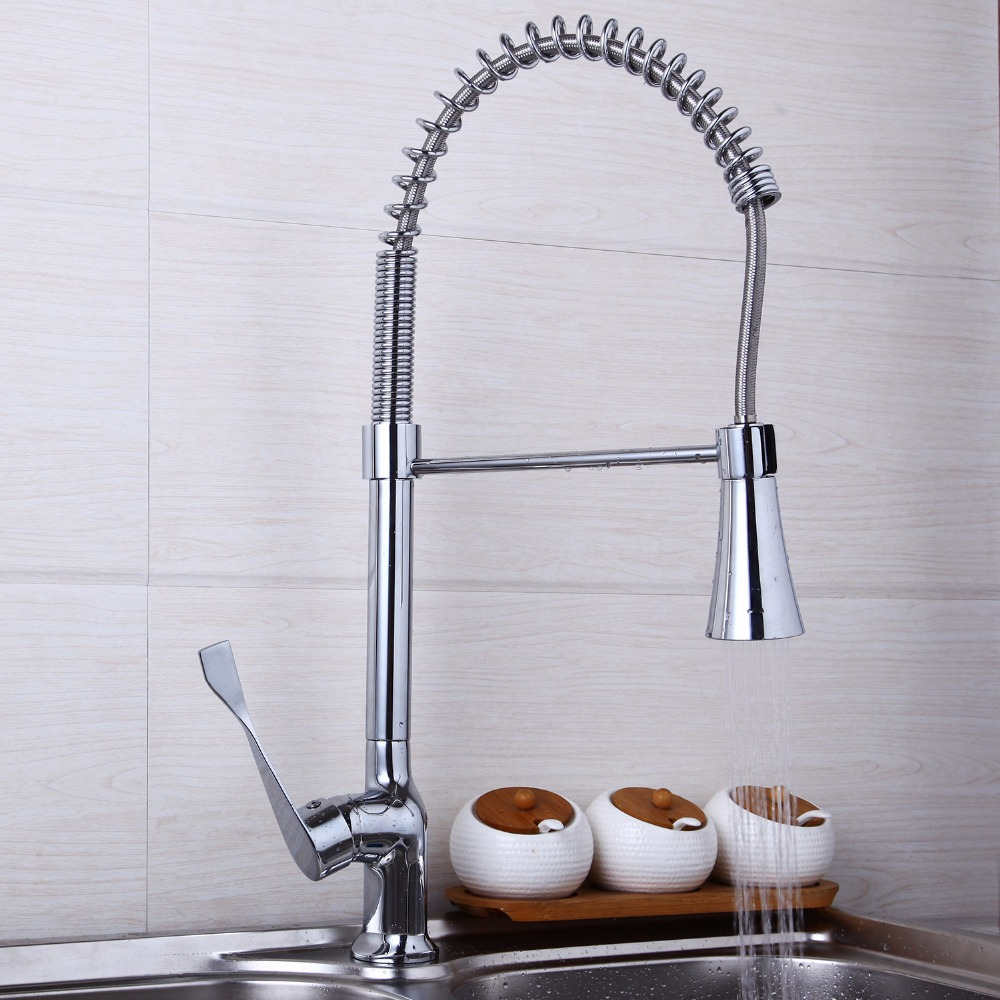 Chrome Brass Kitchen Faucet Single Handle Sink Mixer Tap Pull Out Swivel Spout JN8555/3 new pull out sprayer kitchen faucet swivel spout vessel sink mixer tap single handle hole hot and cold