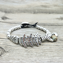 Youga 2018 New Unique Design Fish Bracelet Vintage Silver Beads Braided Bohemian Jewelry for Women hand made gift Customizable