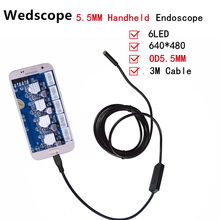 5.5MM 3M Handheld Android Endoscope With 6LED USB Endoscope Waterproof Inspection Borescope Tube Camera