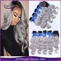 Ombre Peruvian Virgin Hair Body Wave 4Bundle With Closure Grey Ombre Human Hair Extensions Silver Two Tone Ombre Hair Extension