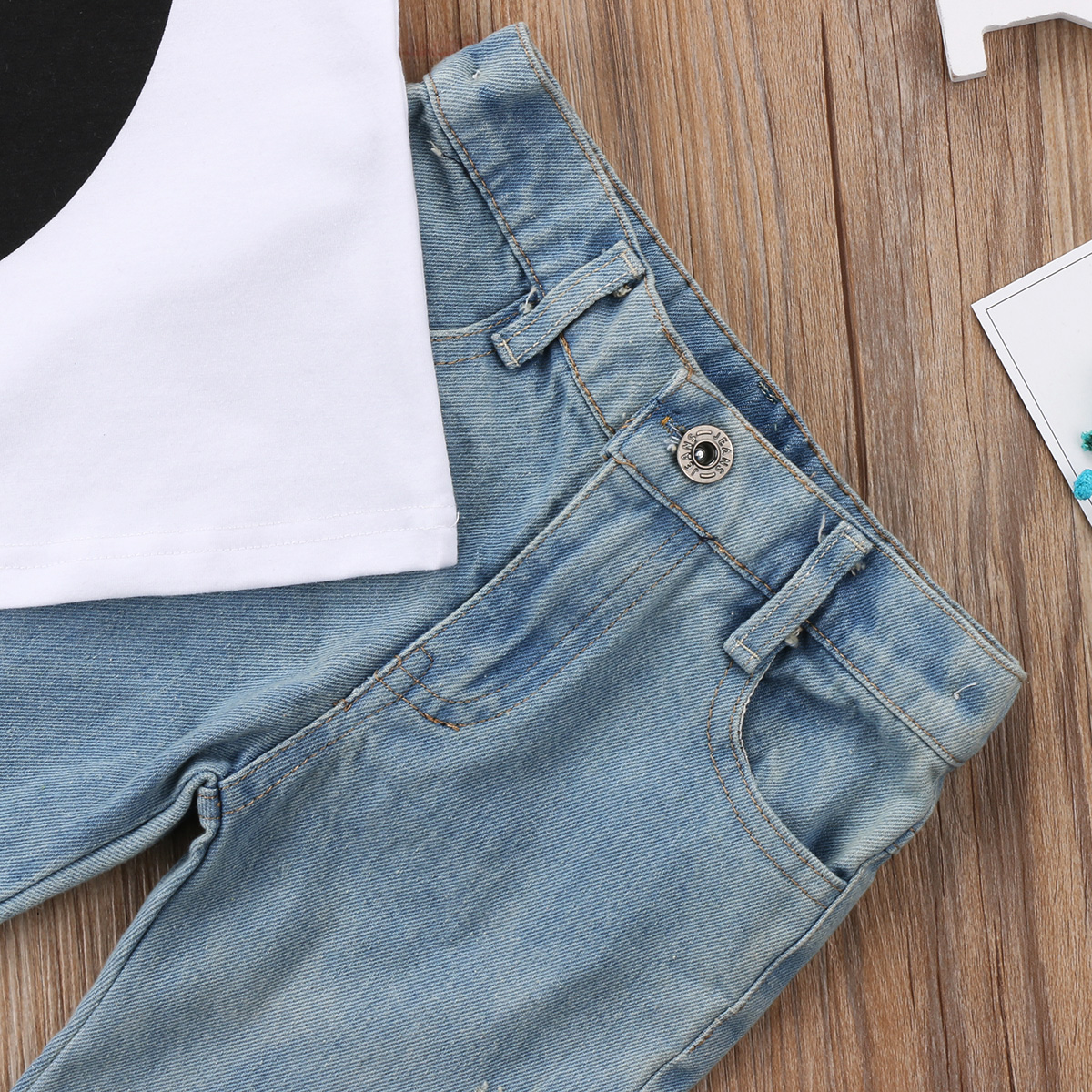 2Pcs Fashion Girls Clothing Toddler Baby Kids Girl Vest Sleeveless Top Tassels Jeans Denim Pants Outfits Set Clothes 0-5T