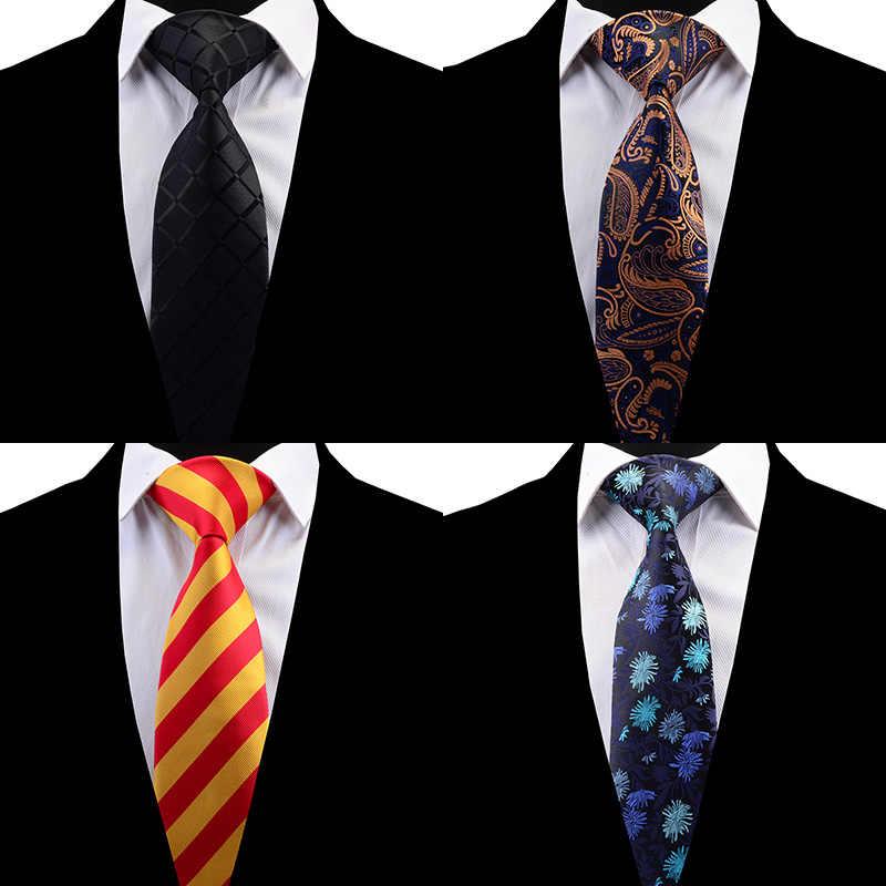 Ricnais Quality Floral Tie 8cm Silk Necktie Plaid Mens Wedding Tie Jacquard Woven Formal Paisley Necktie Suit Business Party