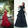Lindo Boat Neck Ball Gown Satin Lace Beaded Ruffle Evening Dresses Long 2016 Robe De Soiree Zipper-Up Court Train 62242