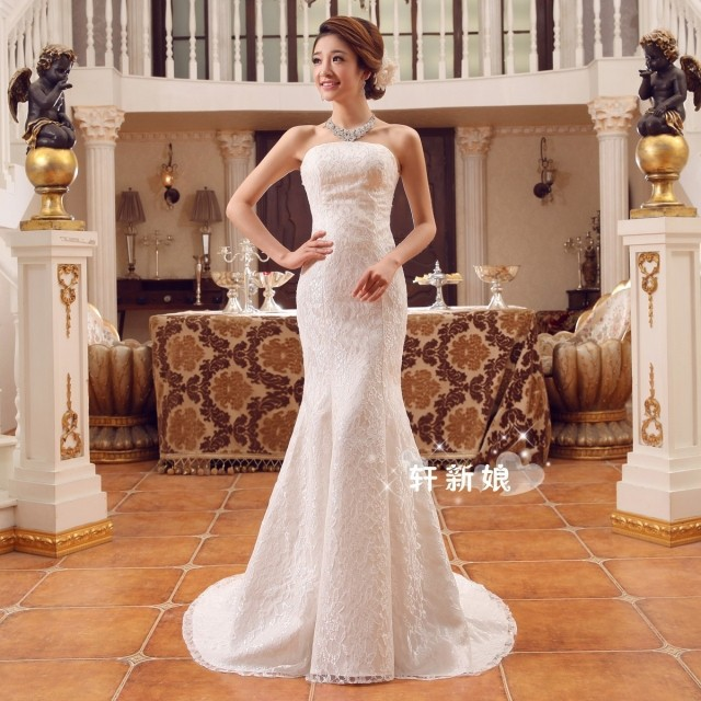 High Quality White Lace Strapless Straight Across Mermaid Wedding ...