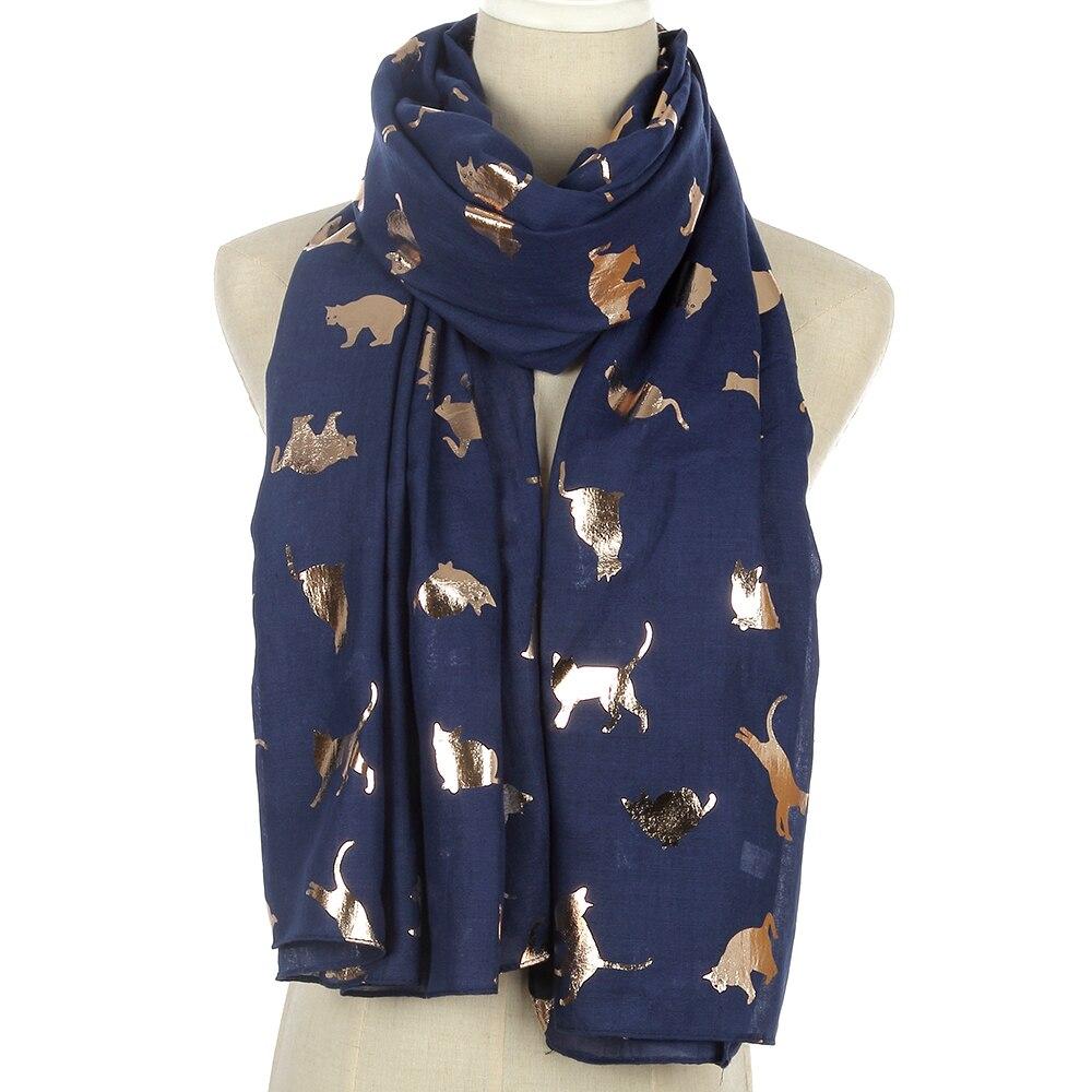FOXMOTHER-bufandas de gato con purpurina dorada para mujer y niña, diseño encantador, negro, blanco, gris marino, FOXMOTHER