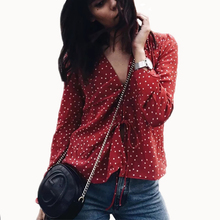 2017 Boho Star Print Blouse Shirts Long Sleeve Deep V Cardigan Tops Front Bow Tie Crop Top Casual Women Blouses Blusas Mujer