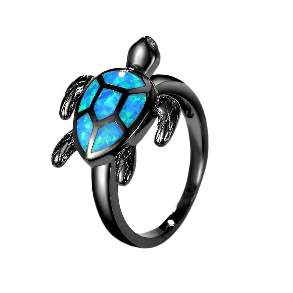 Уникальный черепаха синий опал животных кольца для женщин обручальное модное ювелирное винтажное черное Золотое заполненное коктейльное кольцо RG1048