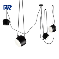 Black/White Aluminum Lampshade Snare Drum Pendant Lamp 1/2/3/4/6 Heads Led Hanging Lights Indoor Office DIY Suspension Luminaire