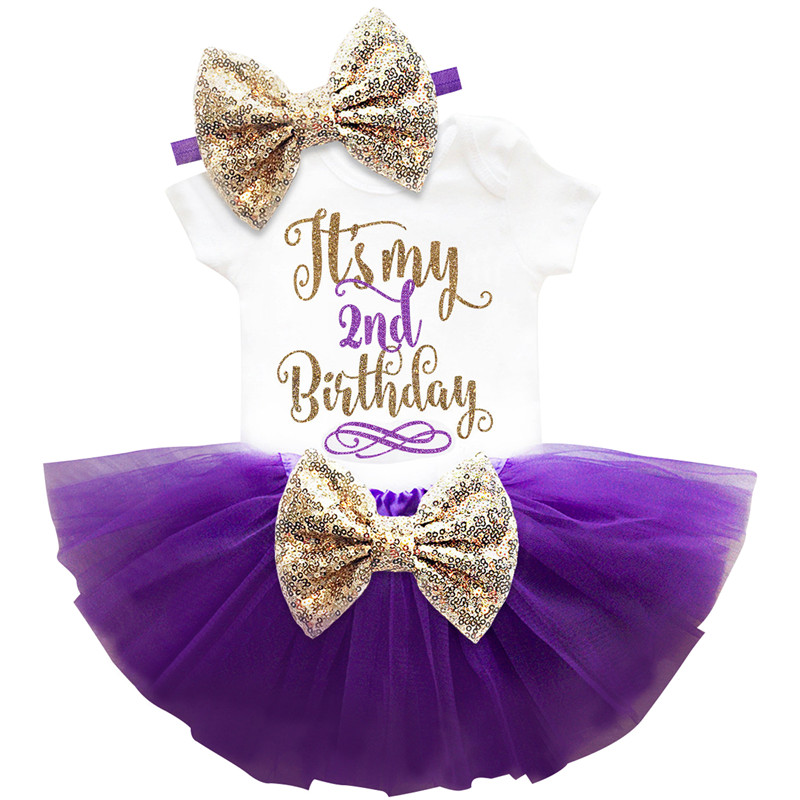 It' My 2nd Birthday Outfits 2 Year Baby Girl Clothing Summer Infant Dress For Girl Baptism Christening Gown Party Kids Dresses