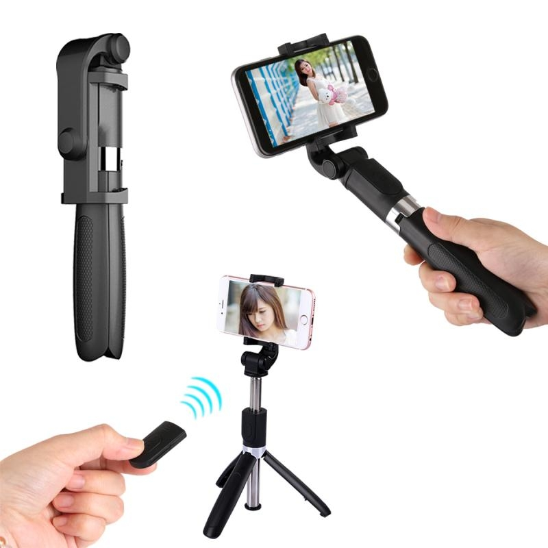 Portable Remote 3 in 1 Handheld Tripod Selfie Bluetooth Extendable Selfie Stick with Remote Control for iPhone Huawei Xiaomi