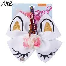 AHB Hair Accessories 6 Bows for Girls Unicorn Clips Glitter Rainbow Flower Sequin Horn Hairgrips Party Kids Headwear