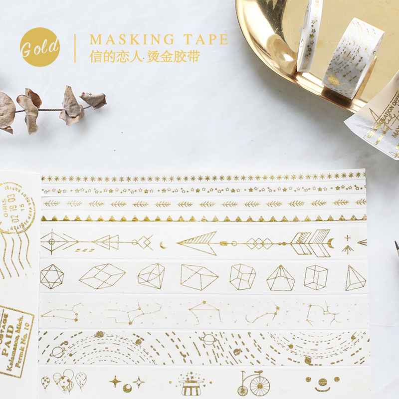 5/15/30mm Gold Foil Gild Slim Washi Tape DIY Masking Tapes Scrapbooking Decorative Paper Tape Stickers Cute Stationery 1pc black and white grid washi tape japanese paper diy planner masking tape adhesive tapes stickers decorative stationery tapes