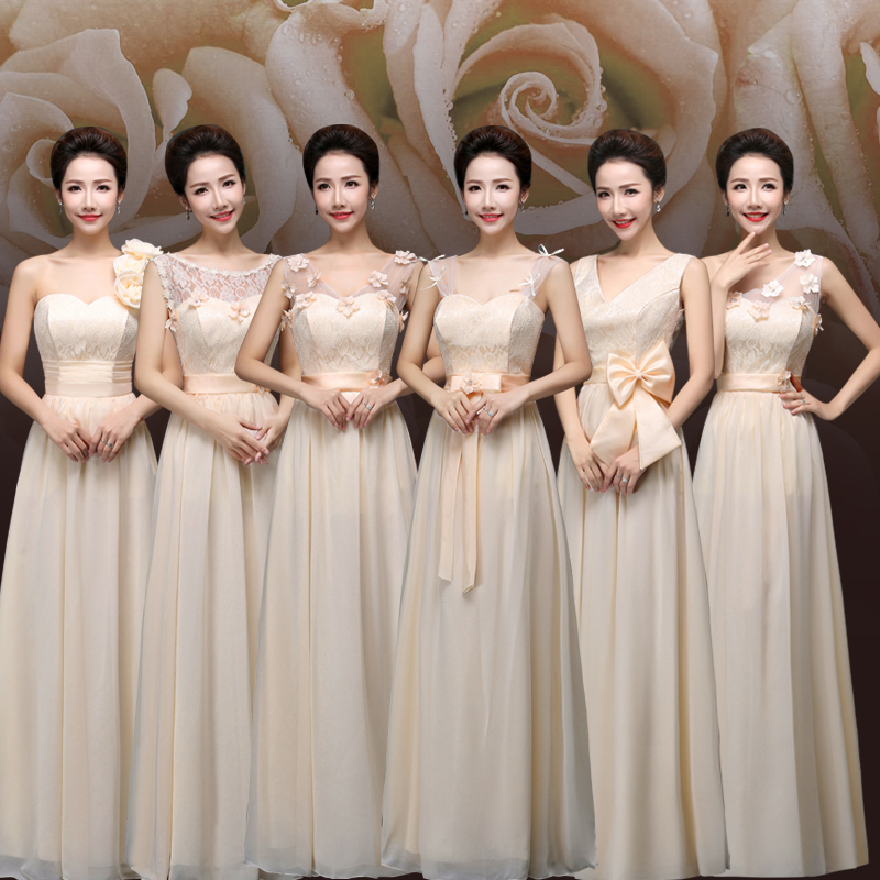 Holievery Champagne Chiffon Long   Bridesmaid     Dresses   with Lace Top 2019 Floor Length Wedding Guest Gowns vestido invitada