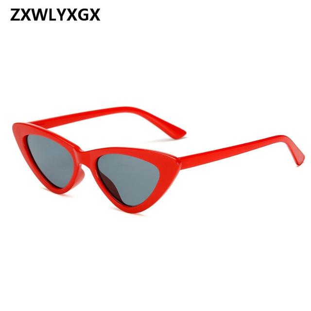 9476fd847f Small Cateye Triangle Sunglasses Sexy Women Brand Vintage Cat Eye Frame Tint  Red Mirror Lens Sun