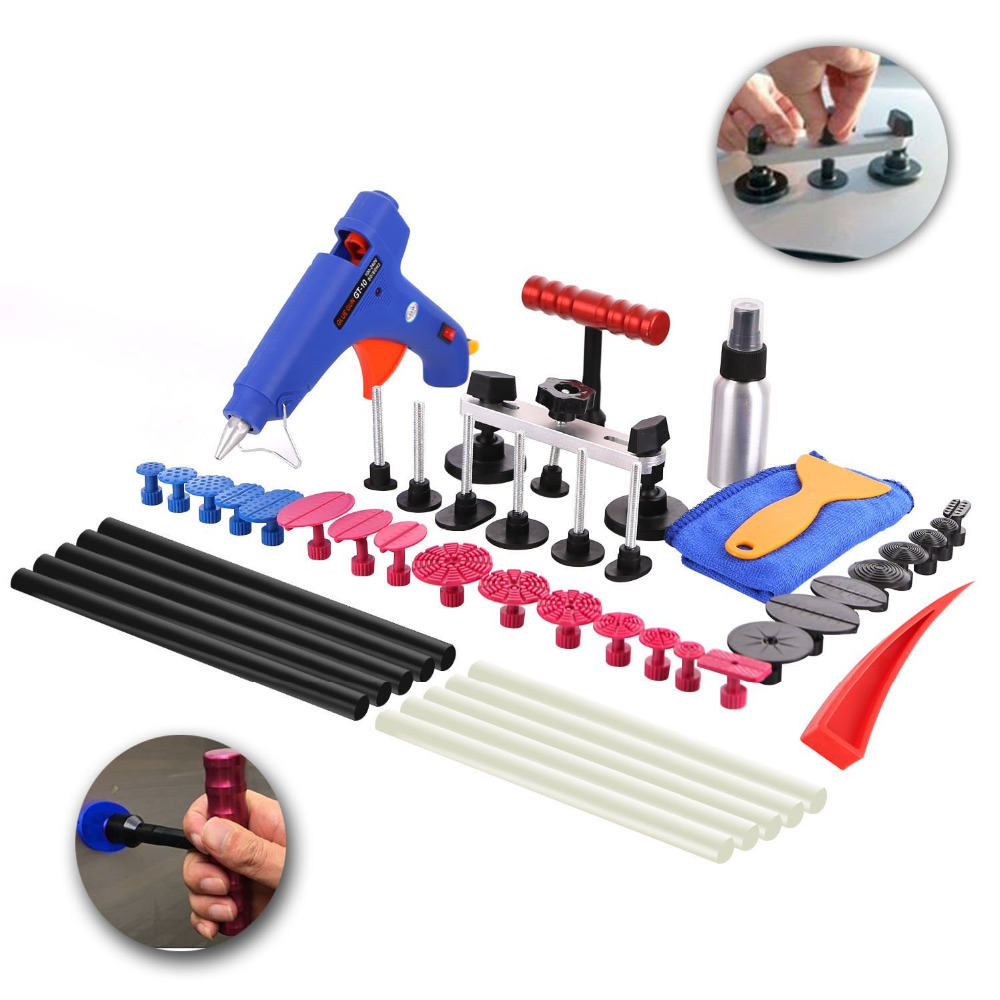 ФОТО 40Pcs Auto Body Paintless Dent Repair Removal Tool Kits Dent Puller Bridge Glue Puller Kits With Glue Gun Glue Sticks