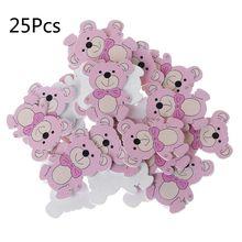25pcs Laser Cut Wood Embellishment Colorful Wooden Bear Shape Craft Wedding Decor cheap OOTDTY CN(Origin) Wood DIY Package