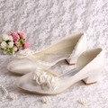 Wedopus Цветок Свадьба Насосы 2014 Крем Атласная Коренастый Модные Туфли на низком каблуке Леди