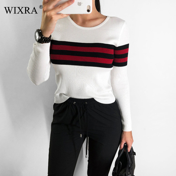 Slim O Neck Striped Sweater