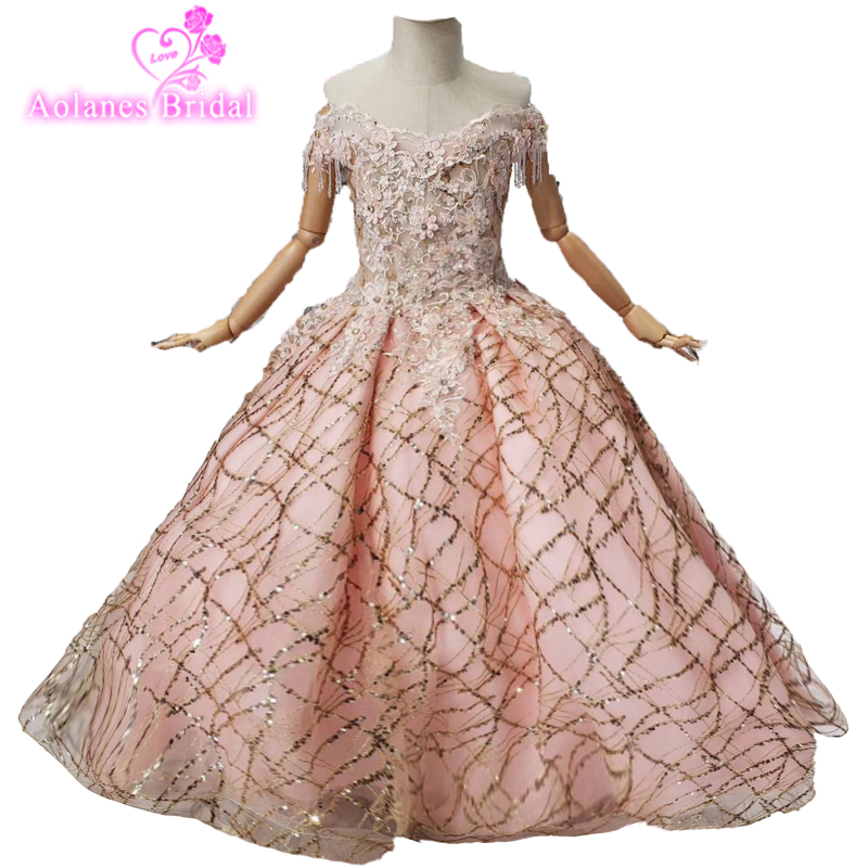 Special Occasion Pink Flowers Gold Sequins Girl Dress For Pageant Party Long Sleeves O Neck Ball Gown Princess Birthday Dress