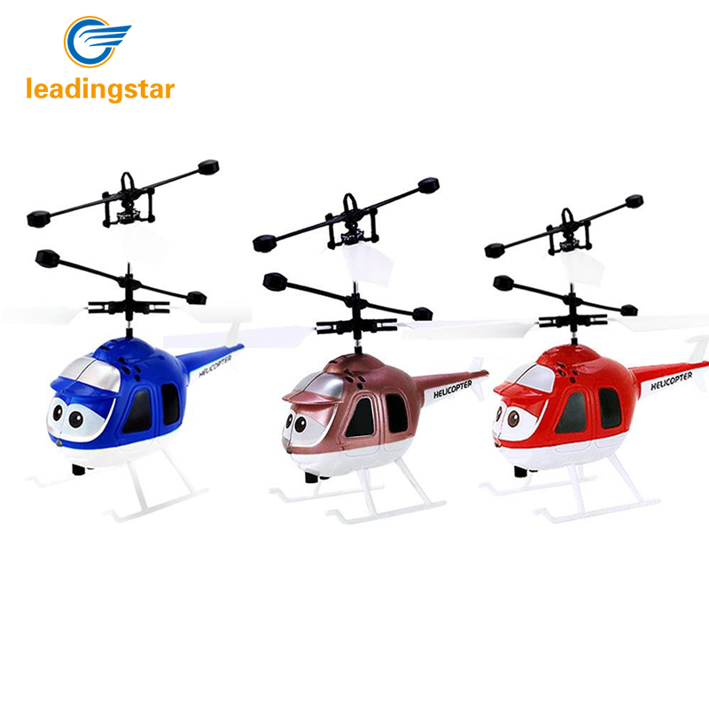 LeadingStar 2 Channel Flying Mini RC Infrared Induction Helicopter Aircraft Flashing Light Toys For Kids